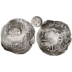 Potosi, Bolivia, cob 8 reales, (1651-2)E, with crowned-o (lower case) countermark on shield.