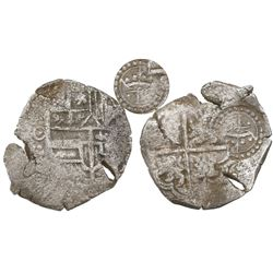 Potosi, Bolivia, cob 4 reales, (1649-50)O, with crowned script-L countermark (extremely rare) on cro
