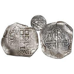 Potosi, Bolivia, cob 4 reales, (165)1/0O (unique overdate), with crown-alone countermark (rare style