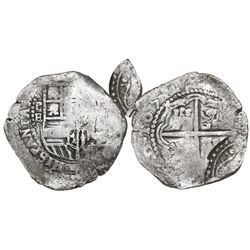 Potosi, Bolivia, cob 4 reales, 1651E, with arms countermark on cross.
