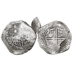 Potosi, Bolivia, cob 4 reales, 1651E, with arms countermark on cross.