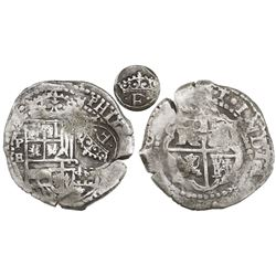 Potosi, Bolivia, cob 4 reales, (1651-2)E, with crowned-•F• (two dots) countermark on shield.