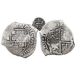 Potosi, Bolivia, cob 4 reales, 16(51-2)E, with crowned-L countermark on cross.