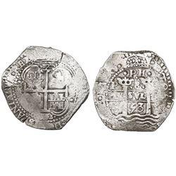 Potosi, Bolivia, cob 8 reales, 1653E, •PH• at top.