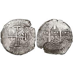 Potosi, Bolivia, cob 8 reales, 1654E, small 4 in date between pillars.