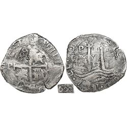 Potosi, Bolivia, cob 8 reales, 1661E, with 600-reis countermark of Brazil (1663) on cross, rare.
