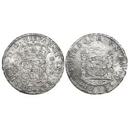 Mexico City, Mexico, pillar 8 reales, Philip V, 1733MF, small-crown variety.