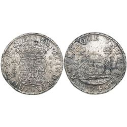Mexico City, Mexico, pillar 4 reales, Philip V, 1740MF with 4/3.