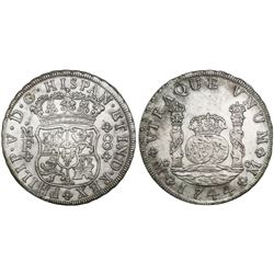 Mexico City, Mexico, pillar 8 reales, Philip V, 1744MF.