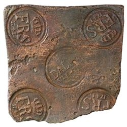 "Swedish copper ""plate money"" 1/2 daler, Fredrik I, 1741."