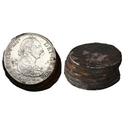 Clump (leaning stack) of 6 Spanish colonial bust 8 reales (probably all Mexico, Charles III, 1783FF)