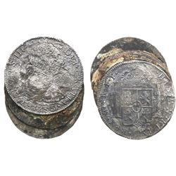 Clump (small, leaning stack) of 3 Spanish colonial bust 8 reales (probably all Mexico, Charles III,