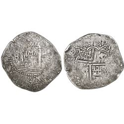 "Lima, Peru, cob 8 reales, 1659V, ""Star of Lima,"" mintmark LIMA (Series Ia), rare."