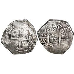 Potosi, Bolivia, cob 8 reales, 1687VR, with original certificate (rare).