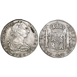 Mexico City, Mexico, bust 8 reales, Charles III, 1780FF, rare provenance.