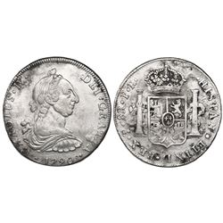 Potosi, Bolivia, bust 8 reales, Charles IV transitional (bust of Charles III, ordinal IV), 1790PR.