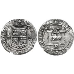 "Mexico City, Mexico, 4 reales, Charles-Joanna, ""Early Series,"" assayer P at bottom between pillars,"