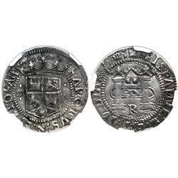 "Mexico City, Mexico, 2 reales, Charles-Joanna, ""Early Series,"" assayer R (Latin) at bottom between p"