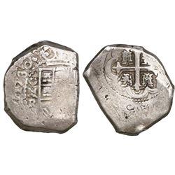 Mexico City, Mexico, cob 8 reales, 1730R.