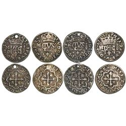 Lot of 4 Mexico City, Mexico, cob 1/2 real Royals, 1724 and 1725, assayer D, representing both ruler