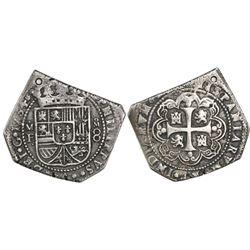 Mexico City, Mexico, klippe 8 reales, 1734/3MF, rare.