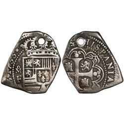 Mexico City, Mexico, klippe 4 reales, 1733F, cob flan, rare.