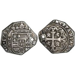 Mexico City, Mexico, klippe 4 reales, 1733MF.