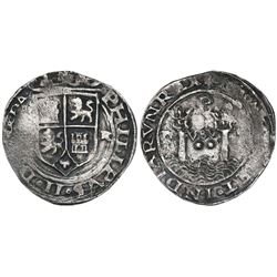 Lima, Peru, 2 reales, Philip II, assayer R (Rincon) to right, motto PL-VSV-(TR), legends (H)ISPA / N