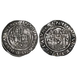 Lima, Peru, 1 real, Philip II, assayer R (Rincon) to left, dot below motto PL-VS-V, legends HISPANIA