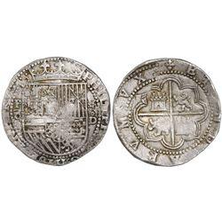 Lima, Peru, cob 8 reales, Philip II, assayer Diego de la Torre, P-8 (flat top) to left, *-oD to righ