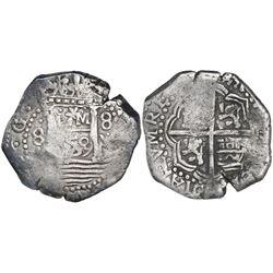 "Lima, Peru, cob 8 reales, 1659V, ""Star of Lima"" type, mintmark L-star-M (Series II), rare."