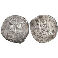 Lima, Peru, cob 8 reales, 1684V.