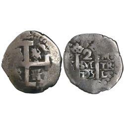 Lima, Peru, cob 2 reales, 1725M, Louis I, rare, ex-Huntington.