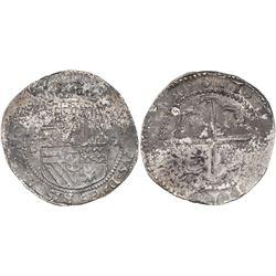 "Potosi, Bolivia, cob 8 reales, Philip II, assayer B (1st period, ""Lima style"")."