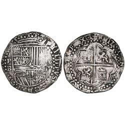 Potosi, Bolivia, cob 8 reales, Philip II, assayer B (3rd period), ex-Christensen.