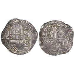 Potosi, Bolivia, cob 8 reales, Philip II, assayer B (3rd period, late variety).