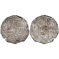 Potosi, Bolivia, cob 8 reales, Philip III, assayer Q/C, rare variety with • inside C.