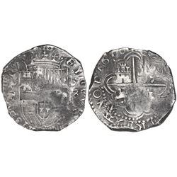 Potosi, Bolivia, cob 8 reales, 1618T/PAL, very rare.