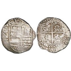 Potosi, Bolivia, cob 8 reales, (16)21T, backwards mintmark, quadrants of cross transposed, rare.