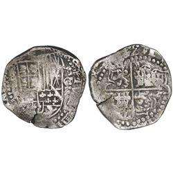Potosi, Bolivia, cob 8 reales, (16)22T, quadrants of cross transposed, rare.