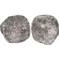 Potosi, Bolivia, cob 8 reales, (1)622T, quadrants of cross transposed, rare.