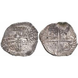 Potosi, Bolivia, cob 8 reales, (1)627T, quadrants of cross transposed, rare.
