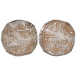 Potosi, Bolivia, cob 8 reales, Philip IV, assayer P/T (1628), ex-Panama hoard.