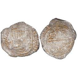 Potosi, Bolivia, cob 8 reales, 1629T, denomination •8•, heavy-dot border on obverse, fine-dot border