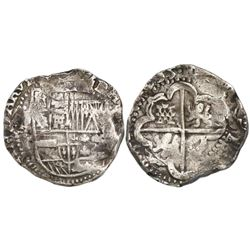 Potosi, Bolivia, cob 8 reales, 1635T, rare.