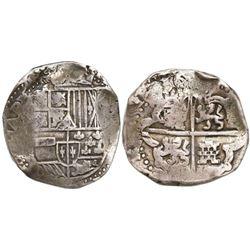 Potosi, Bolivia, cob 8 reales, 1(6)36, assayer not visible (T or TR), rare.