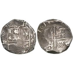 Potosi, Bolivia, cob 8 reales, 1638TR, rare.