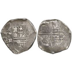 Potosi, Bolivia, cob 8 reales, Philip IV, assayer TR (late 1630s).