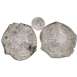 Potosi, Bolivia, cob 8 reales, 1651O, crown-alone countermark (rare variety) on cross.