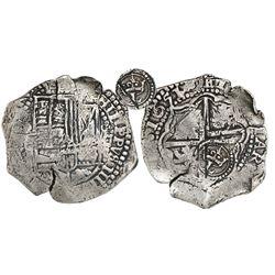 Potosi, Bolivia, cob 8 reales, 1651O, Latin 5, crowned-L countermark on cross, from the Capitana (16